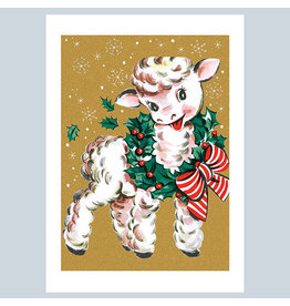 Laughing Elephant Lamb Wearing Wreath A7 Christmas Notecard