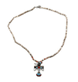 Zuni Channel Inlay Thunderbird Heishe Necklace
