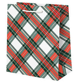 Waste Not Paper Medium Holiday Plaid with Foil Gift Bag