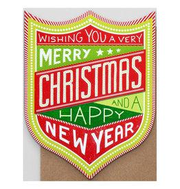 Hammerpress Christmas & New Year Badge A2 Box of 6 Notecards