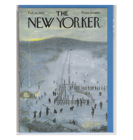 The New Yorker Skiers at the Lift A7 Christmas Notecard