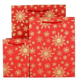 LoveVivid Small Holiday Gift Bag Snowflake Red
