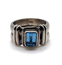 Large Blue Topaz Sterling Ring SIZE 9