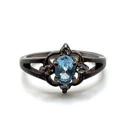 Blue Topaz with 4 Diamond Chips Sterling Ring SIZE 6