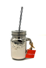 Silver Mason Jar With Straw