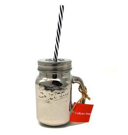 Silver Mason Jar With Straw