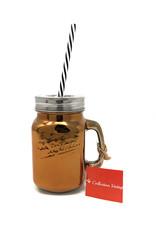 Copper Mason Jar With Straw