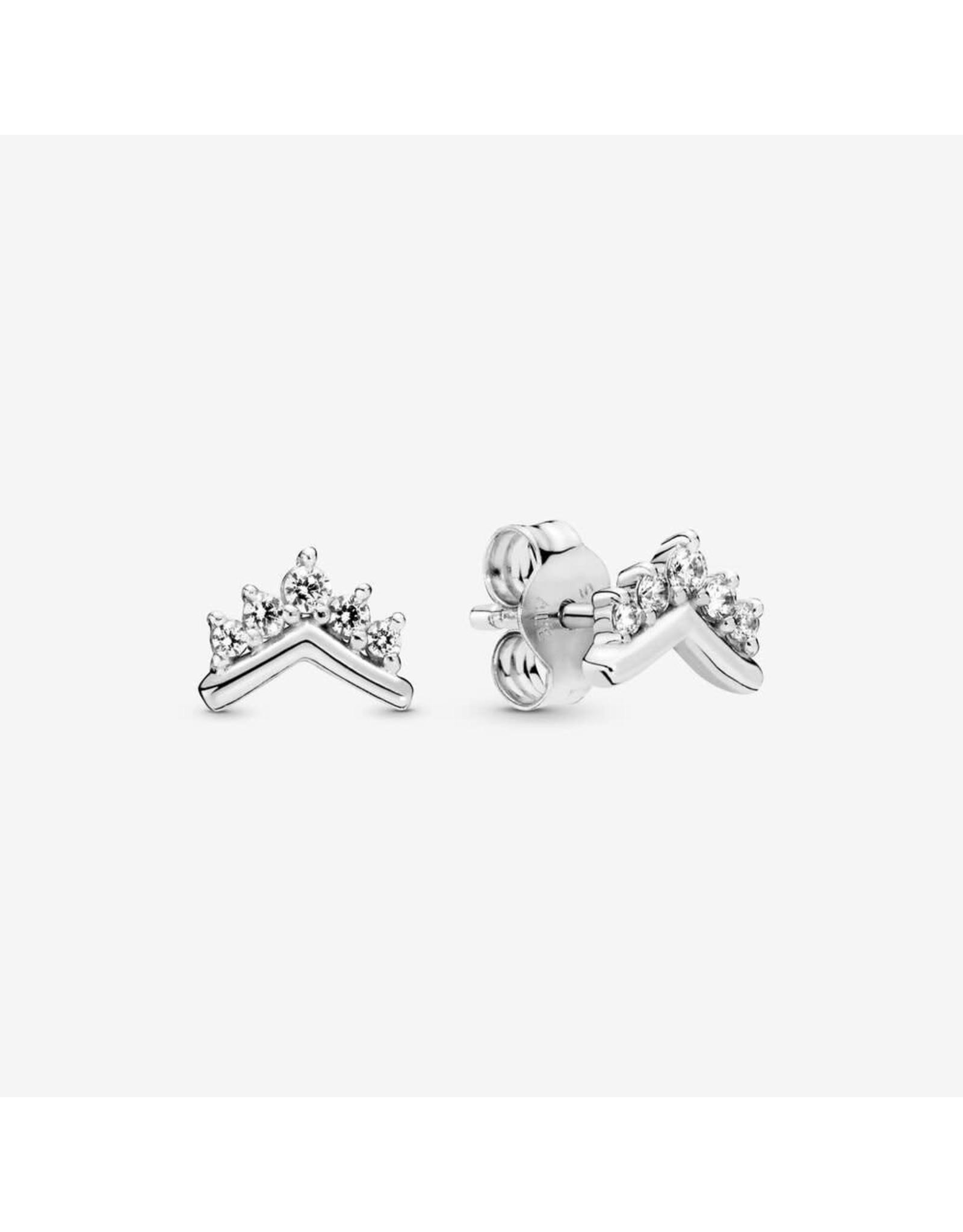 Pandora Pandora Tiara wishbone Sterling Silver Stud Earrings Clear CZ