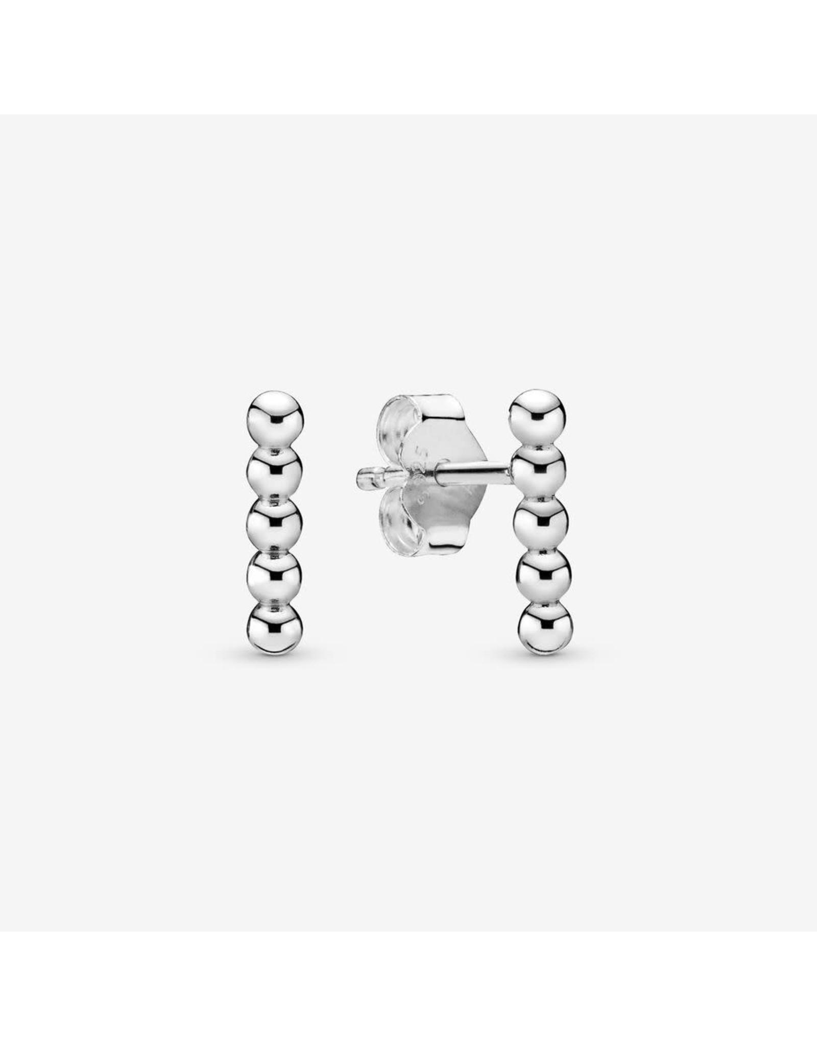 Pandora Pandora Row Of Beads Sterling Silver Stud Earrings