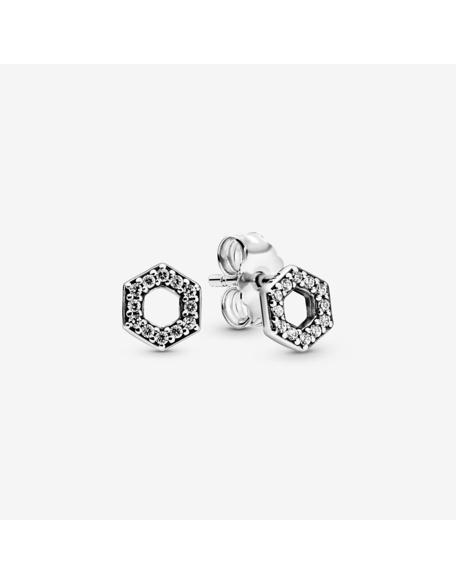 Pandora Pandora Sparkling Honeycomb Hexagon Sterling Silver Stud Earrings with Clear CZ