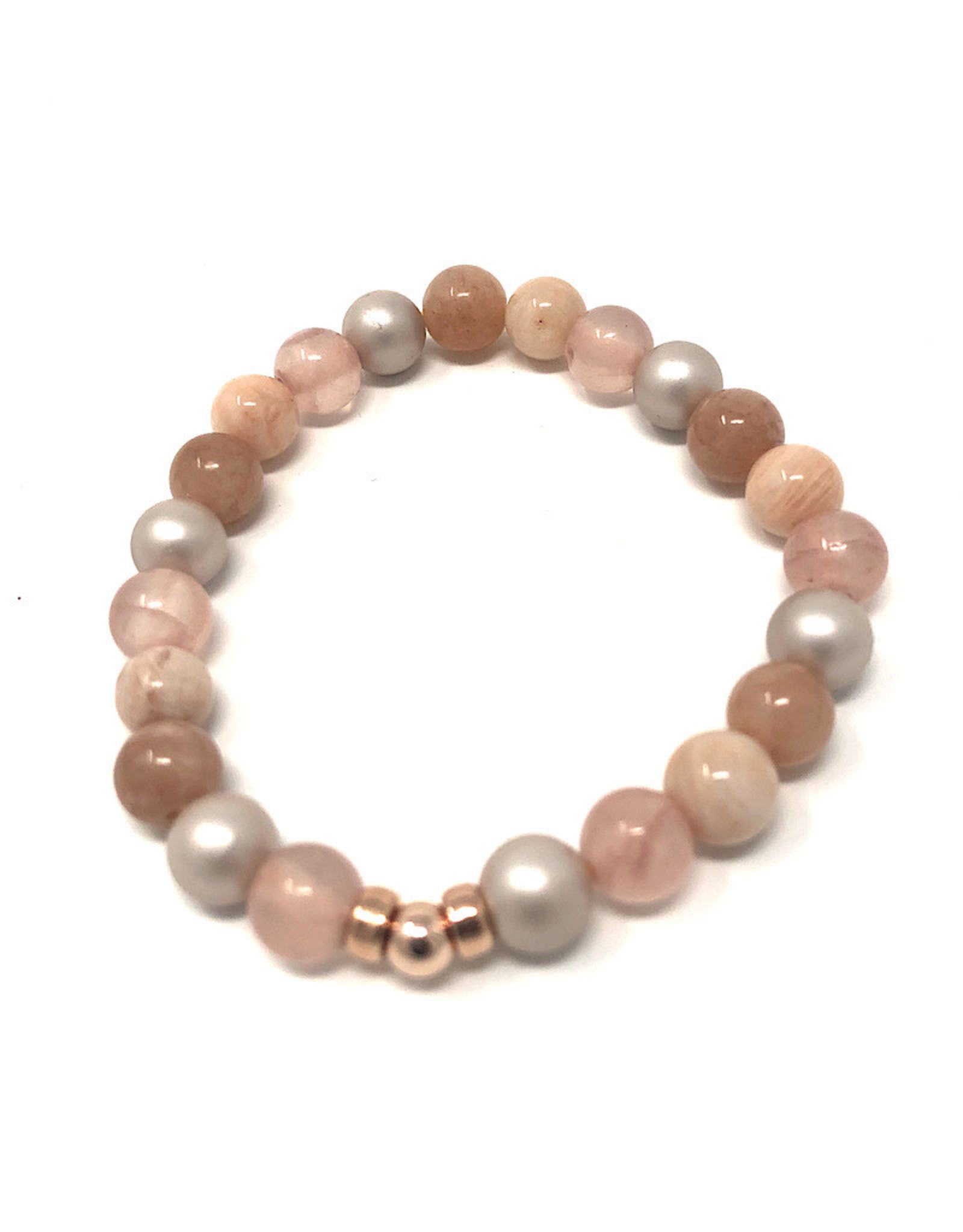 Beblue beblue Pink Bracelet with Grey Pearls