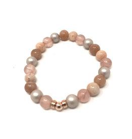 Beblue beblue Pink Bracelet with Grey Pearls