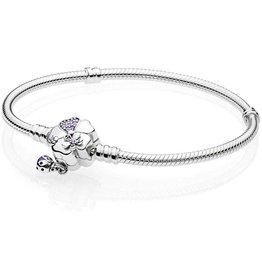 Pandora Pandora Snake Chain Bracelet In Sterling Silver With Flower And Ladybug Clasp With 8 Bead-Set Lilac Crystals, 1 Micro Bead-Set Purple Cubic Zirconia And Trasparent Purple Enamel 18
