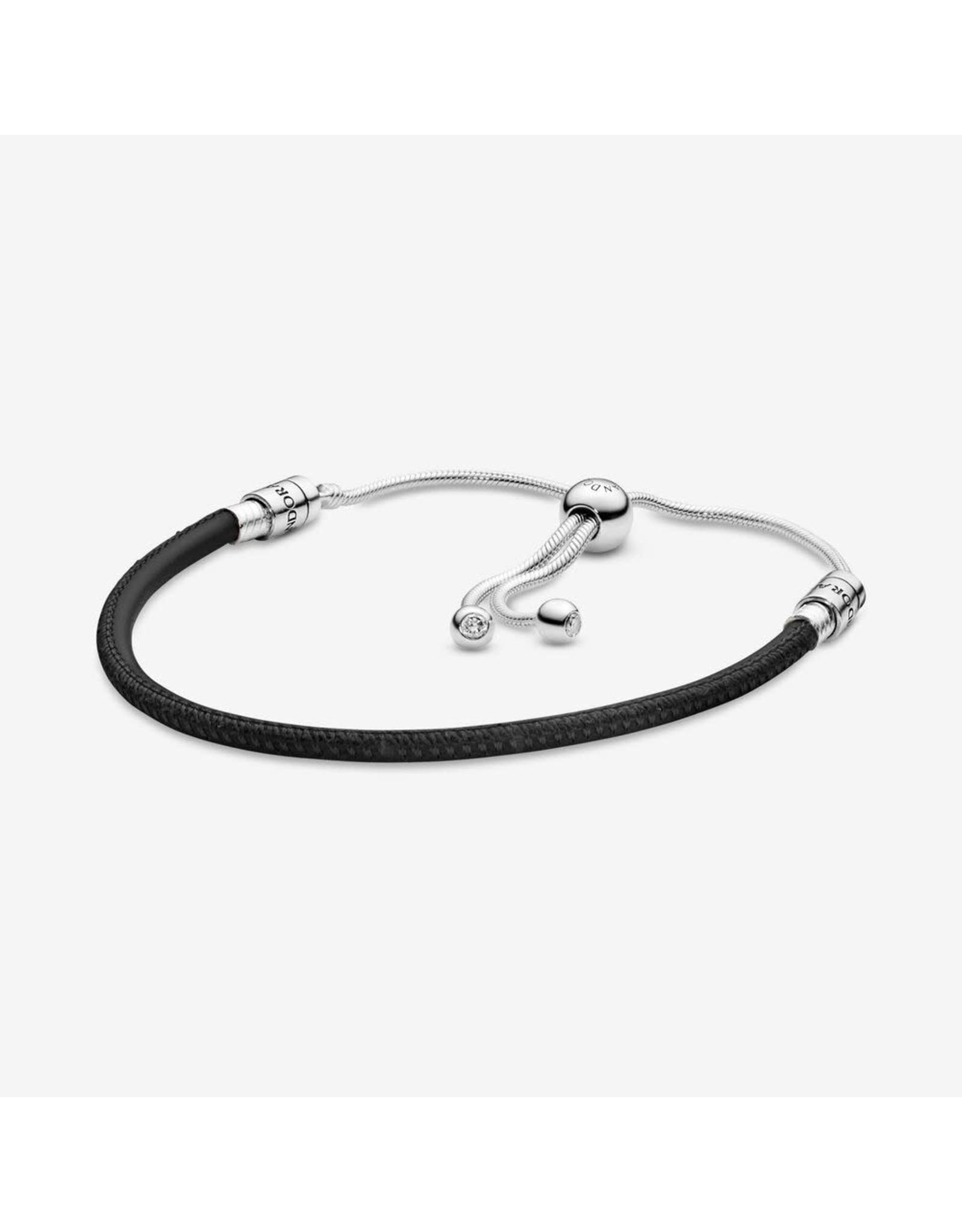 Pandora Pandora (597225CBK)Sliding Clasp Black Leather Bracelet With Ce