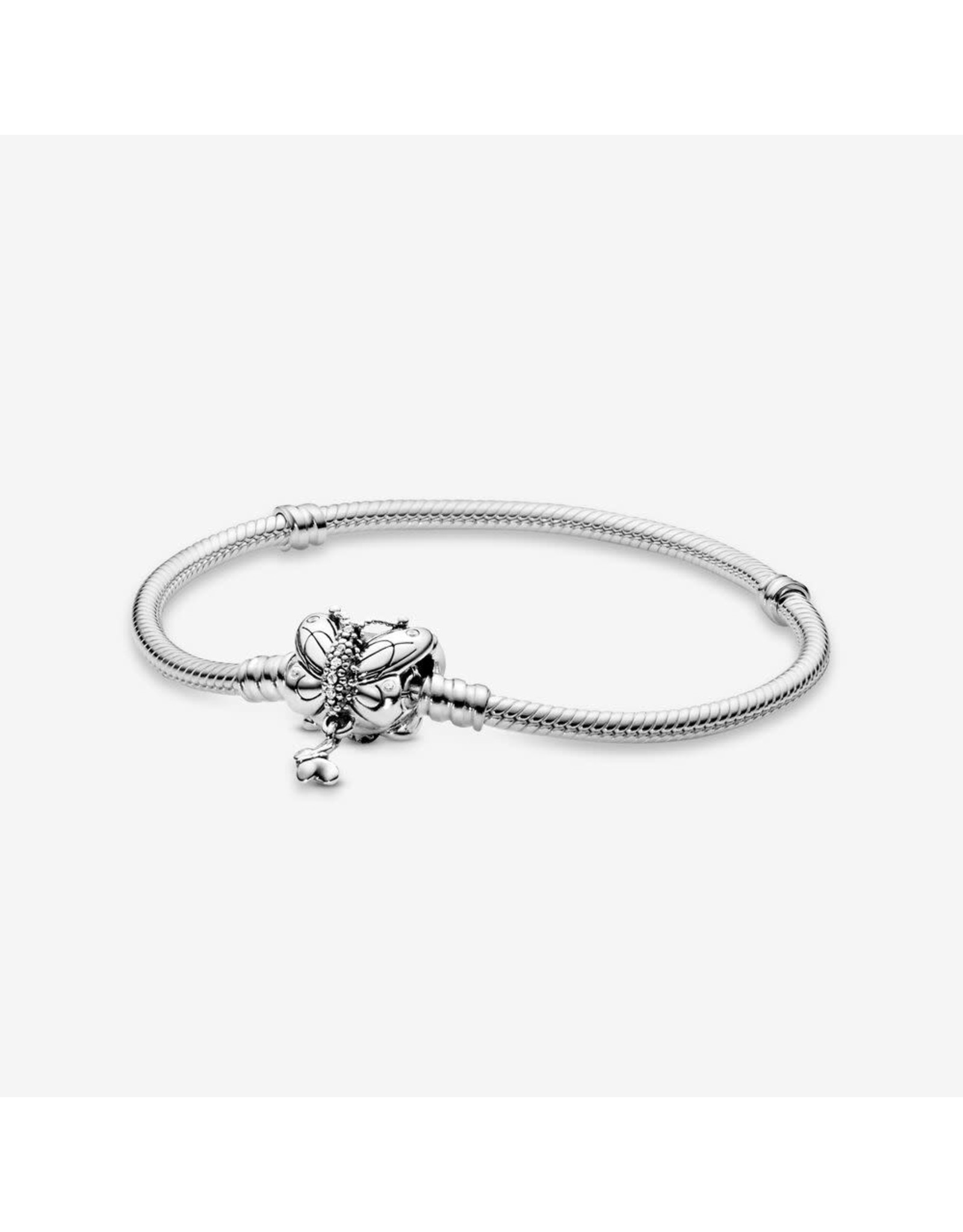 Pandora Pandora Snake chain bracelet in sterling silver and butterfly clasp with 30 bead-set and 8 flush-set clear cubic zirconia