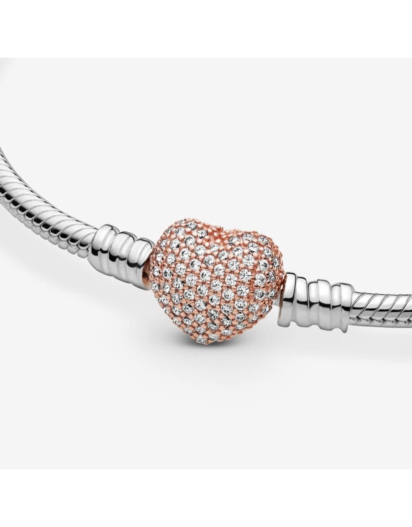 Pandora Pandora Sterling Silver Bracelet With Rose Gold Pavé Heart Clasp