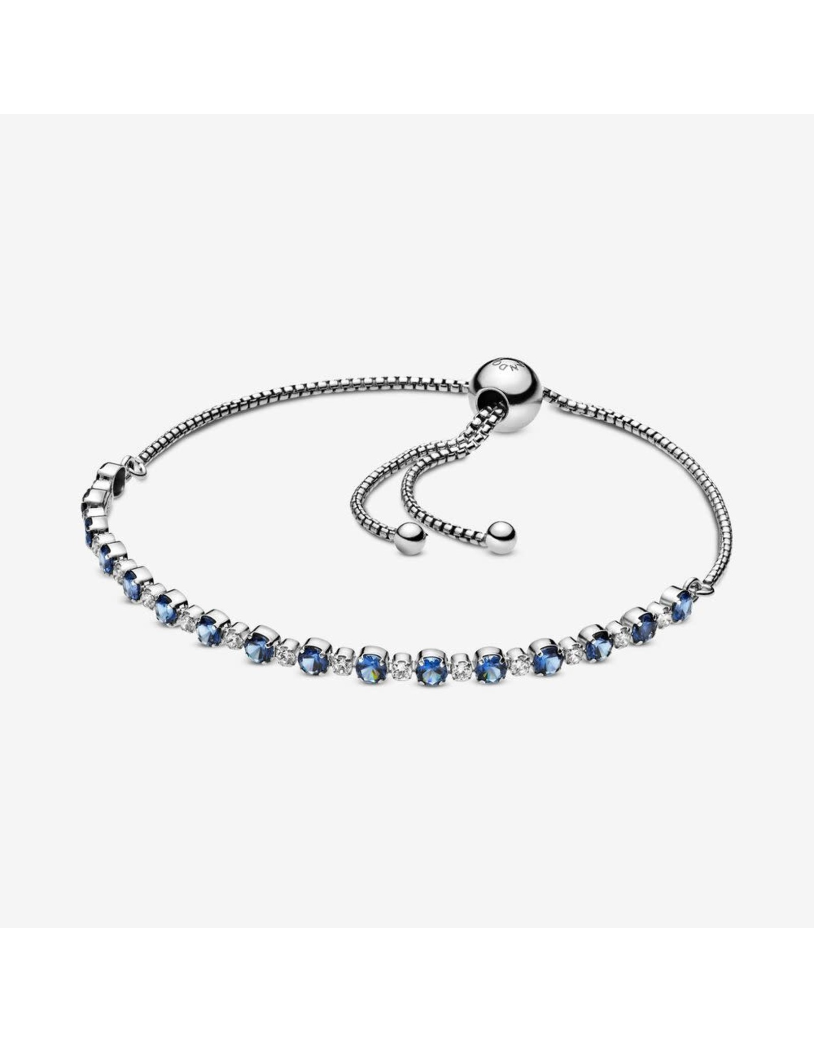 Pandora Pandora Bracelet, 598517C01,Rhodium Plated Sterling Silver With Moonlight Blue Crystal And Clear Cubic Zirconia