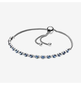 Pandora Pandora Bracelet, 599377C01,Rhodium Plated Sterling Silver With Moonlight Blue Crystal And Clear Cubic Zirconia
