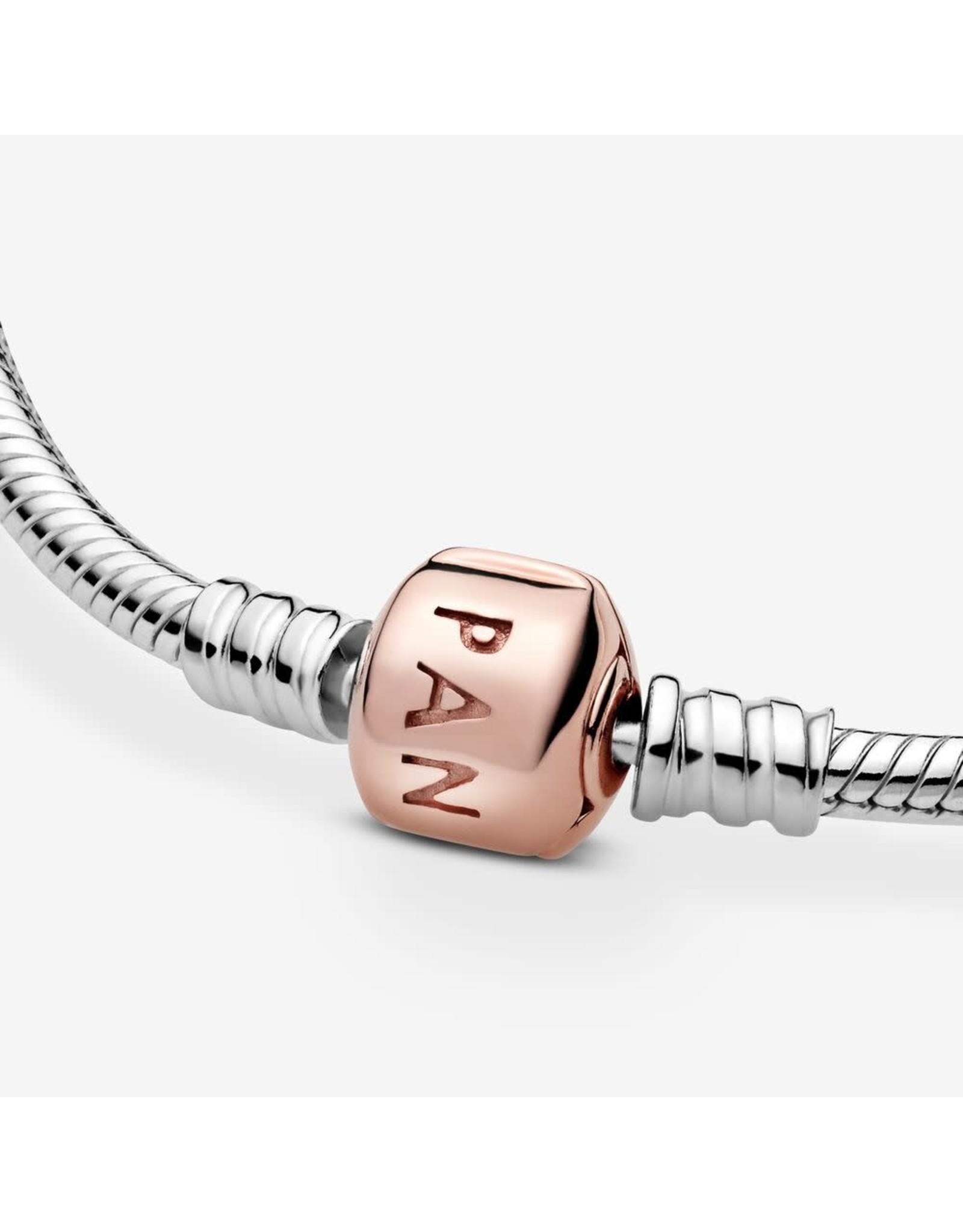 Pandora Pandora Sterling Silver With Rose Gold Barrel Clasp