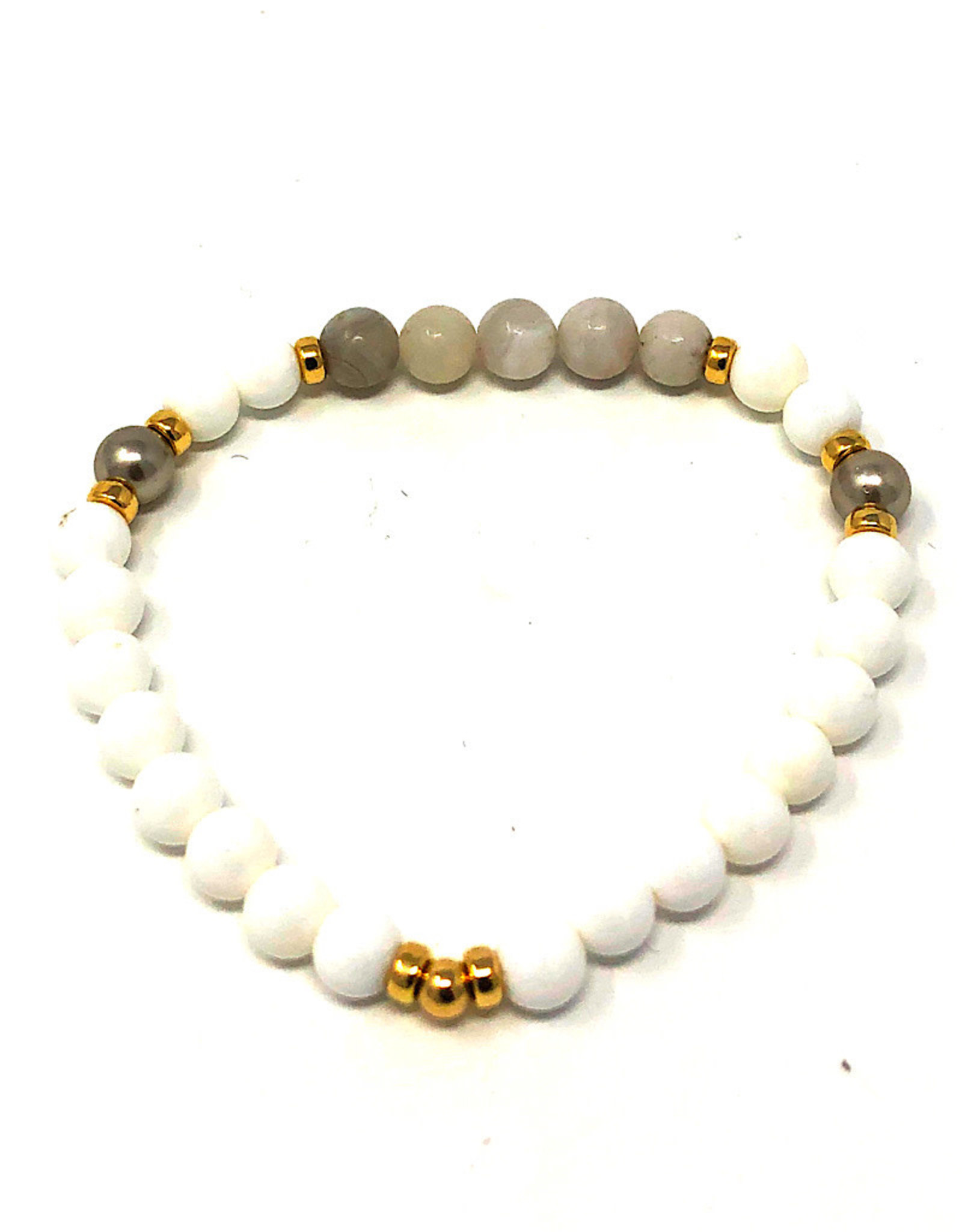 Beblue White Bracelet with Grey Pearls