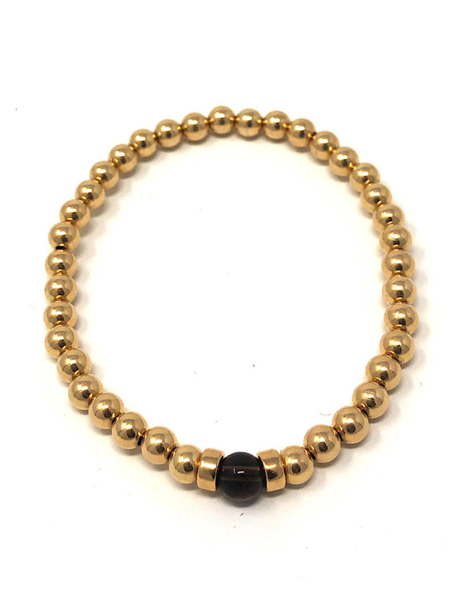Beblue Gold Bracelet with black bead