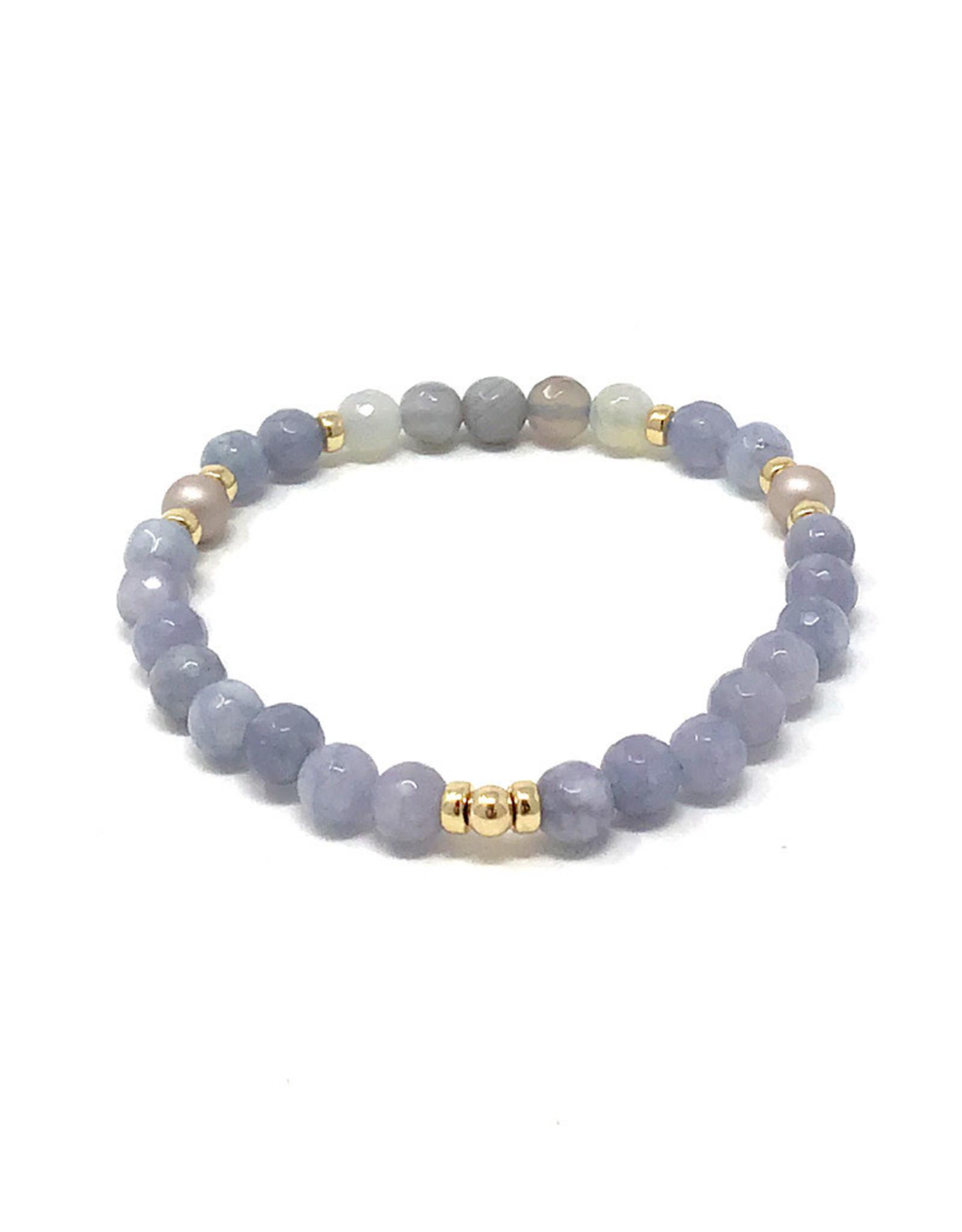 Beblue beblue Bracelet Blue & Gold w. Grey Pearls