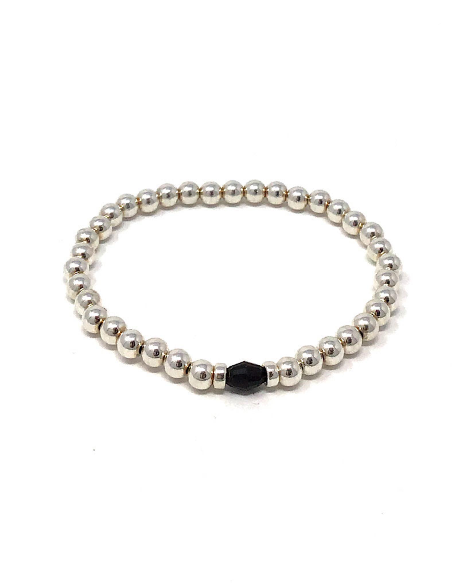 Beblue beblue Silver Bracelet w. Black Bead