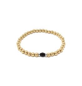Beblue beblue Gold Bracelet w. Black Bead