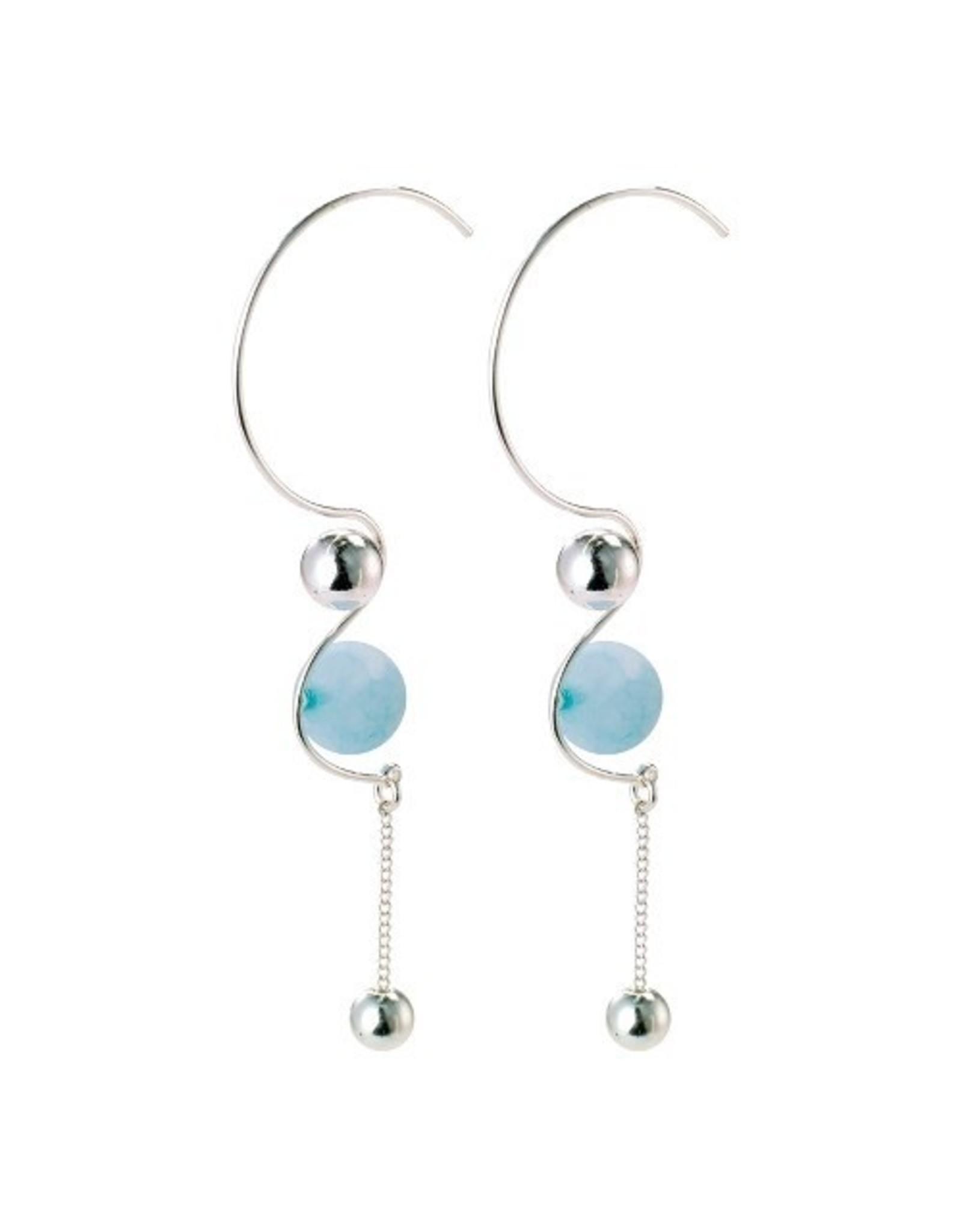 Pilgrim Pilgrim Earrings Earth silver blue aquamarine stone