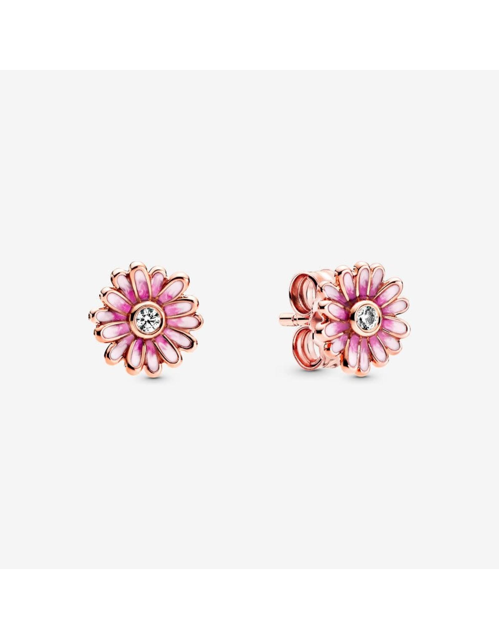 Pandora Pandora Earrings 288773C01, Daisy Rose Stud Clear CZ And Shaded Pink Enamel