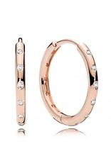 Pandora Pandora Hoop Earrings In Rose Gold With Clear CZ