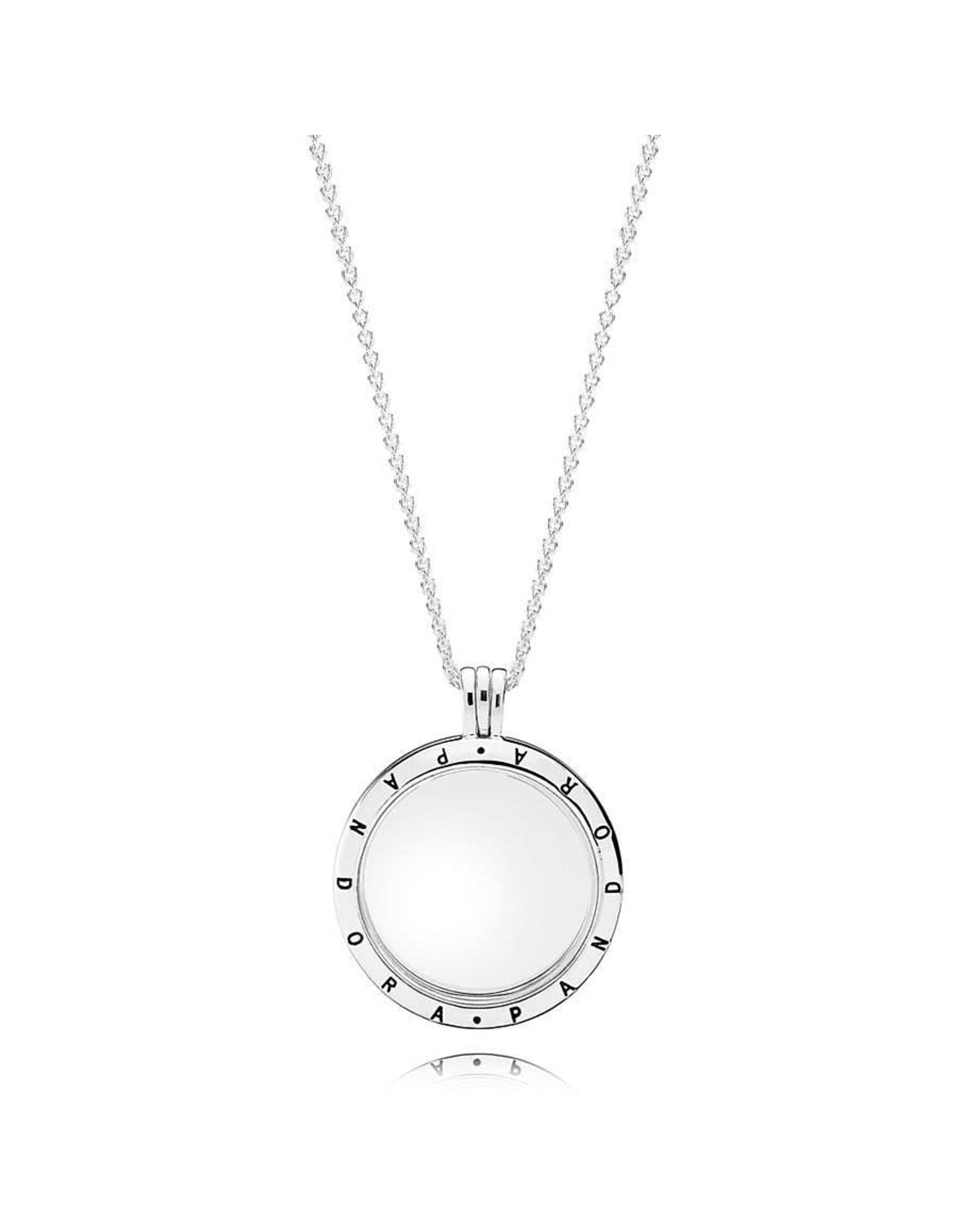 Pandora Pandora Necklace Large PANDORA Floating Locket with Sapphire Crystal Glass 75cm 75 cm