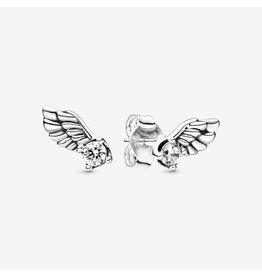 Pandora Pandora Earring,(298501C01) Angel Wing Sterling Silver Stud Earrings With Clear CZ