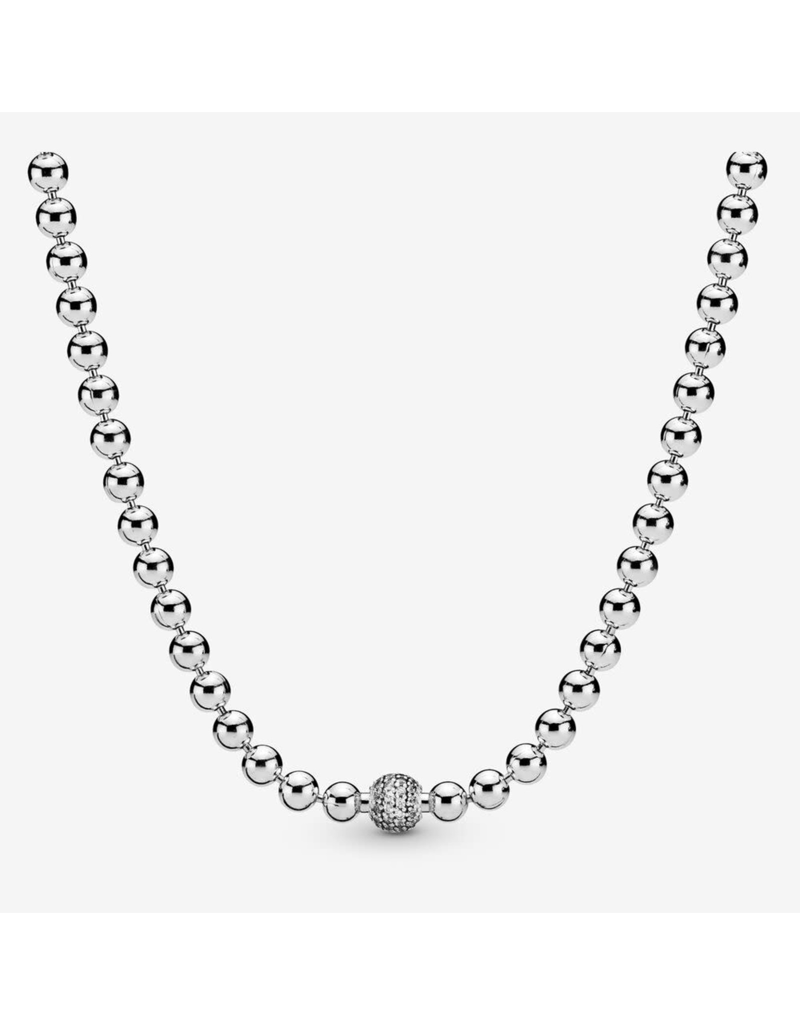 Pandora Pandora Beaded Sterling Silver Necklace With Clear CZ  60 cm