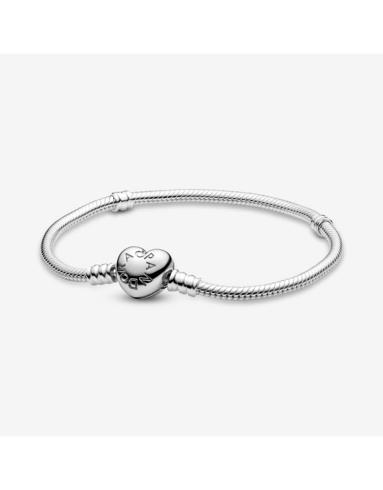Pandora Pandora Moments,590719 Heart Clasp Snake Chain Bracelet Sterling Silver