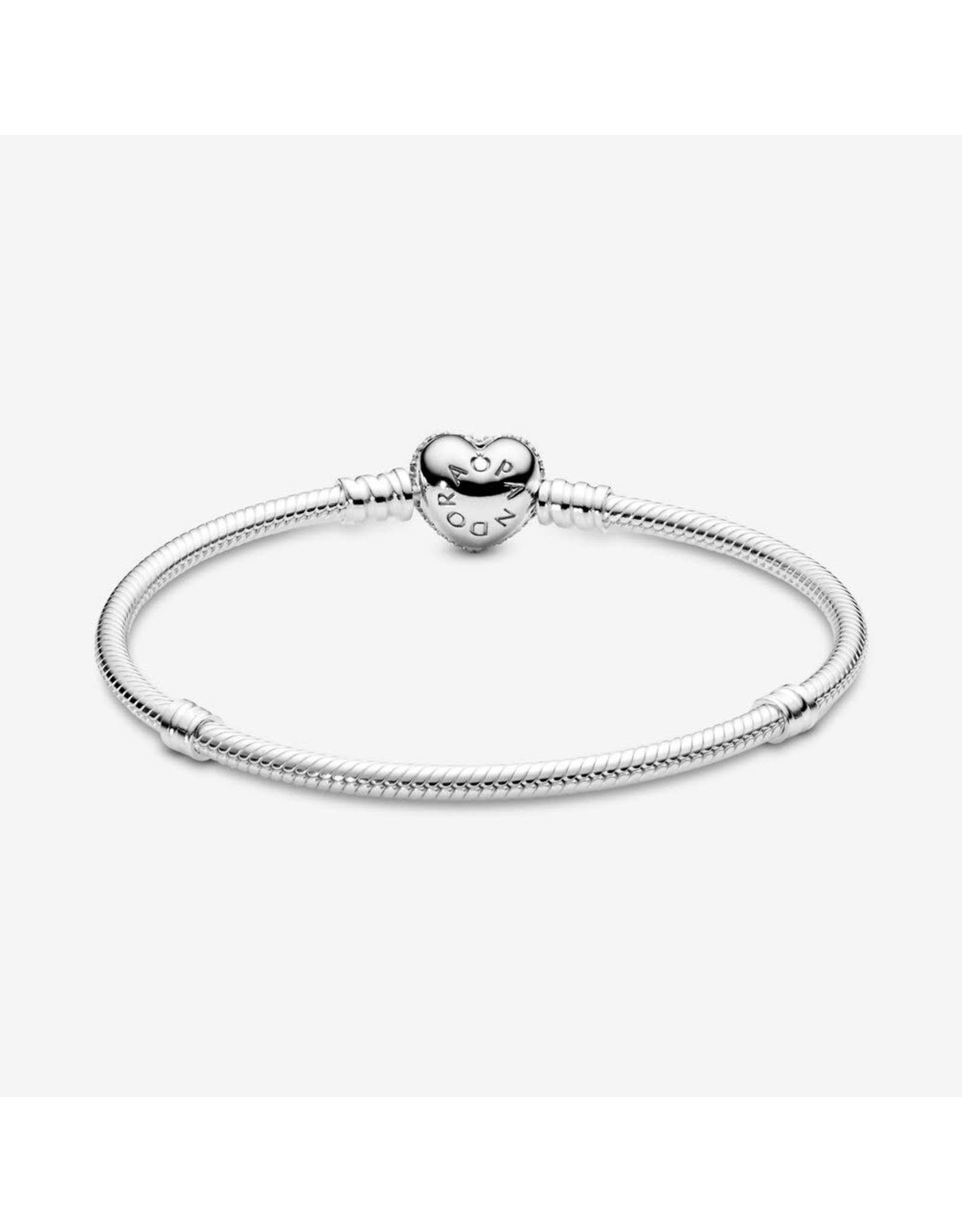 Pandora Pandora Bracelet,590727CZ,  Silver Chain  With Heart Shaped-Clasp Pavé Heart With Clear Cubic Zirconia