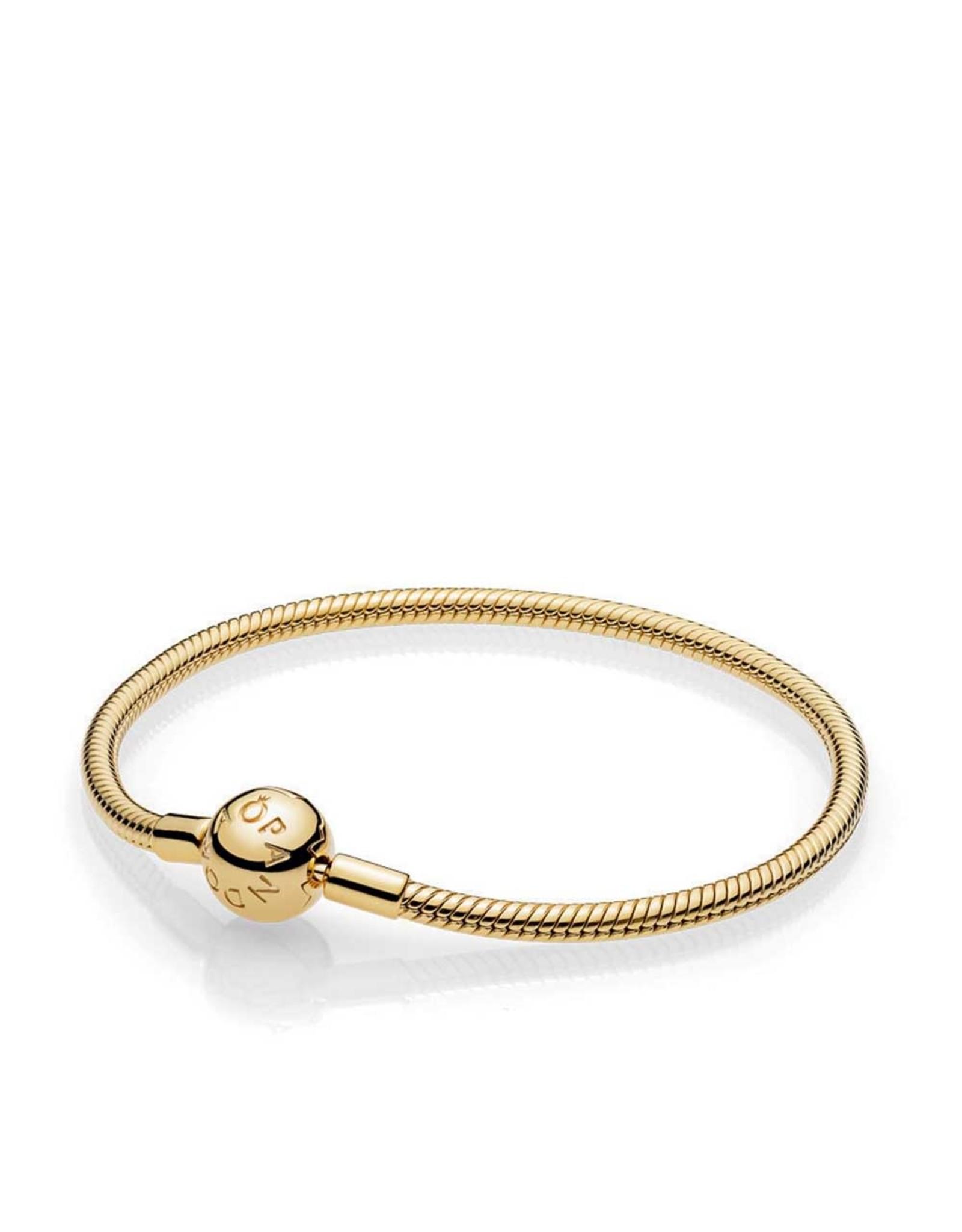 Pandora Pandora Moments Smooth Snake Chain Bracelet With Round Clasp