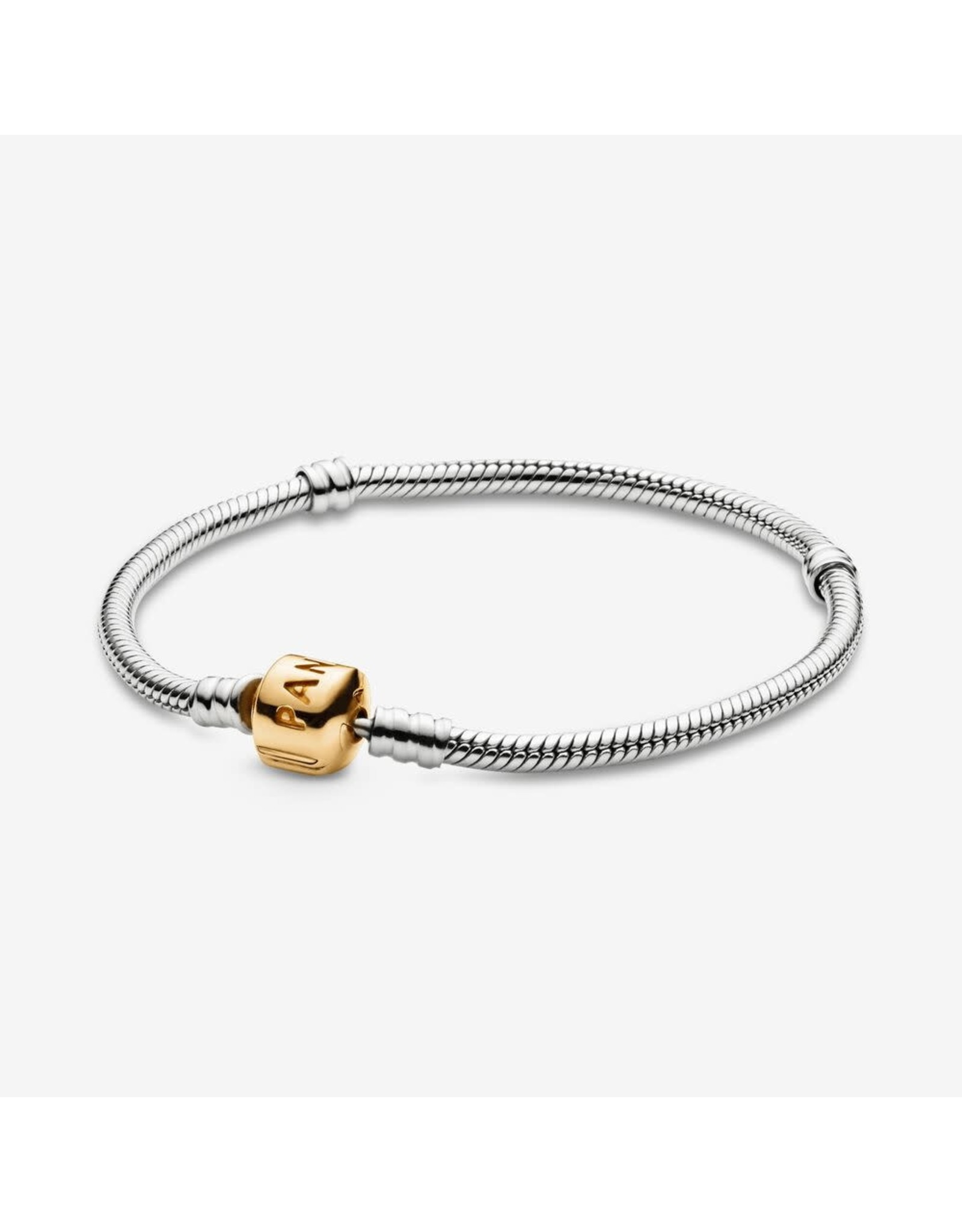 Pandora Pandora Moments Snake Chain Bracelet Sterling Silver And 14K Gold