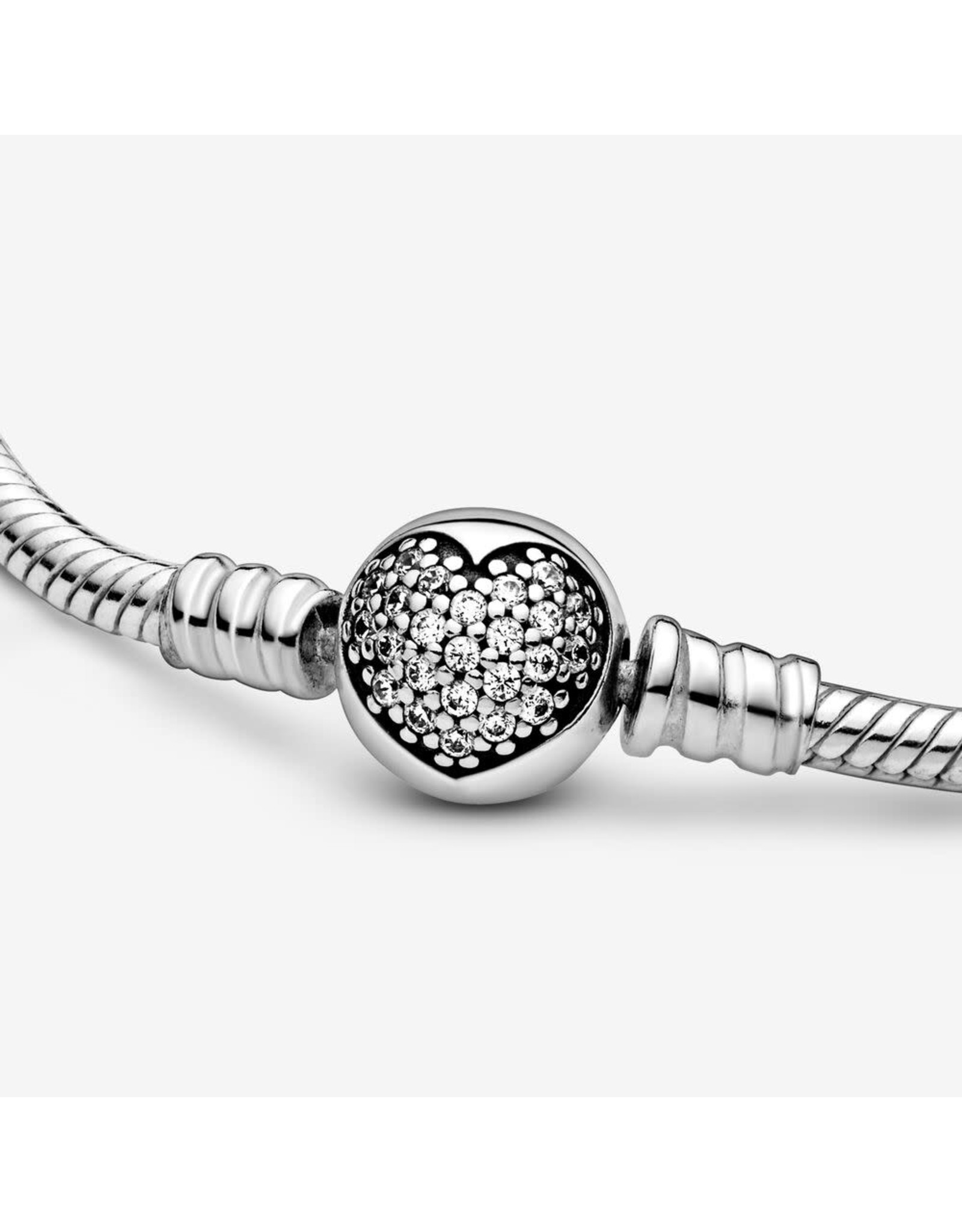 Pandora Pandora Bracelet,590743CZ,  Sparkling Heart Clasp Snake Chain, Sterling Silver CZ