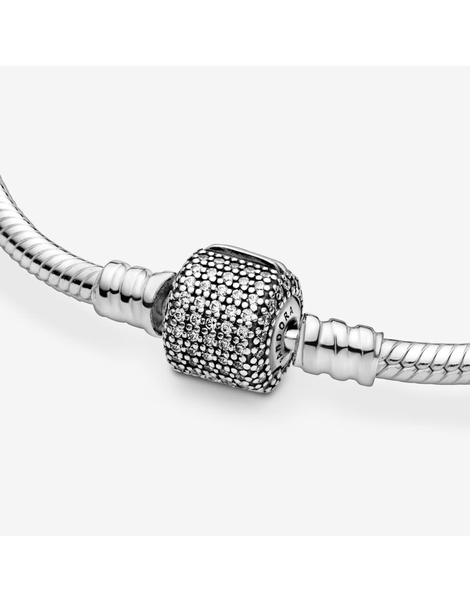 Pandora Pandora Moments Sparkling Pavé Clasp Snake Chain Bracelet Sterling Silver Cubic Zirconia