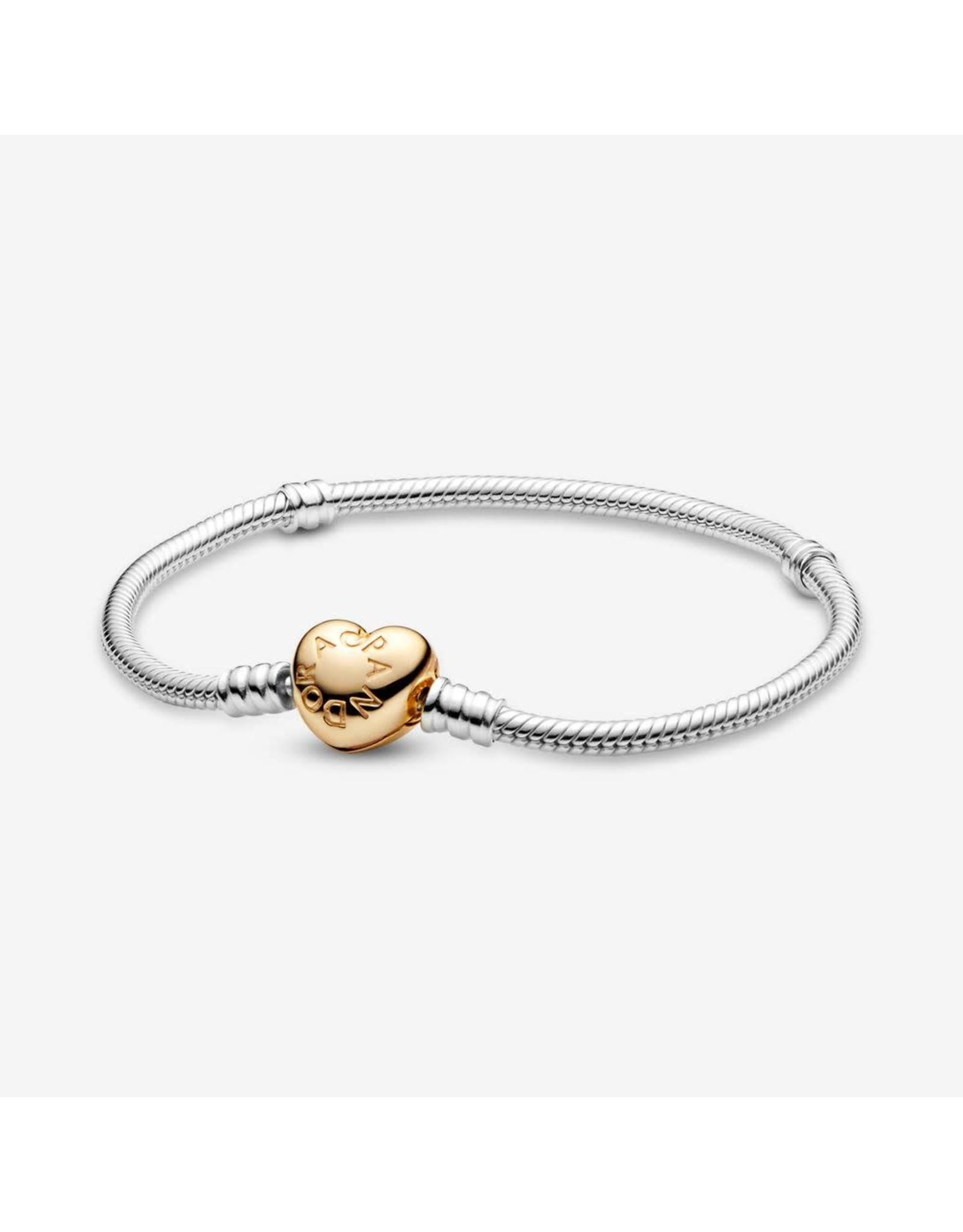 Pandora Pandora Sterling Silver Bracelet With Pandora Shine Heart Clasp