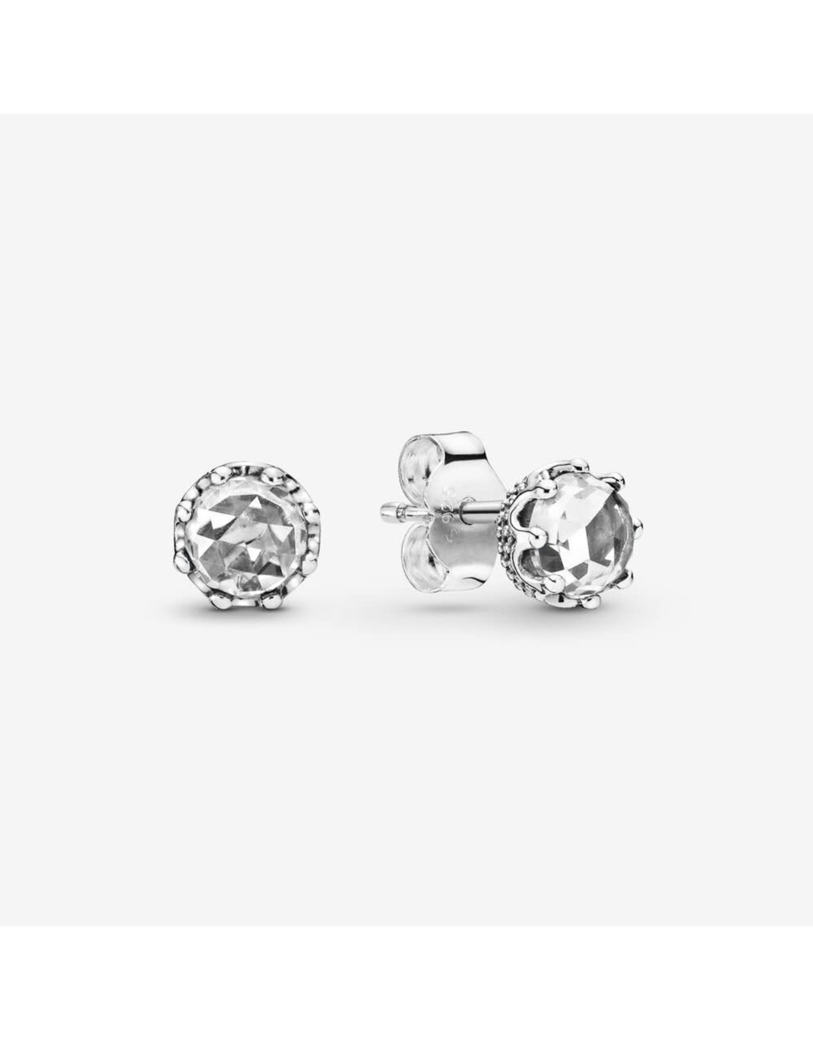 Pandora Pandora Earrings, 298311CZ,  Crown Sterling Silver Stud With Clear CZ