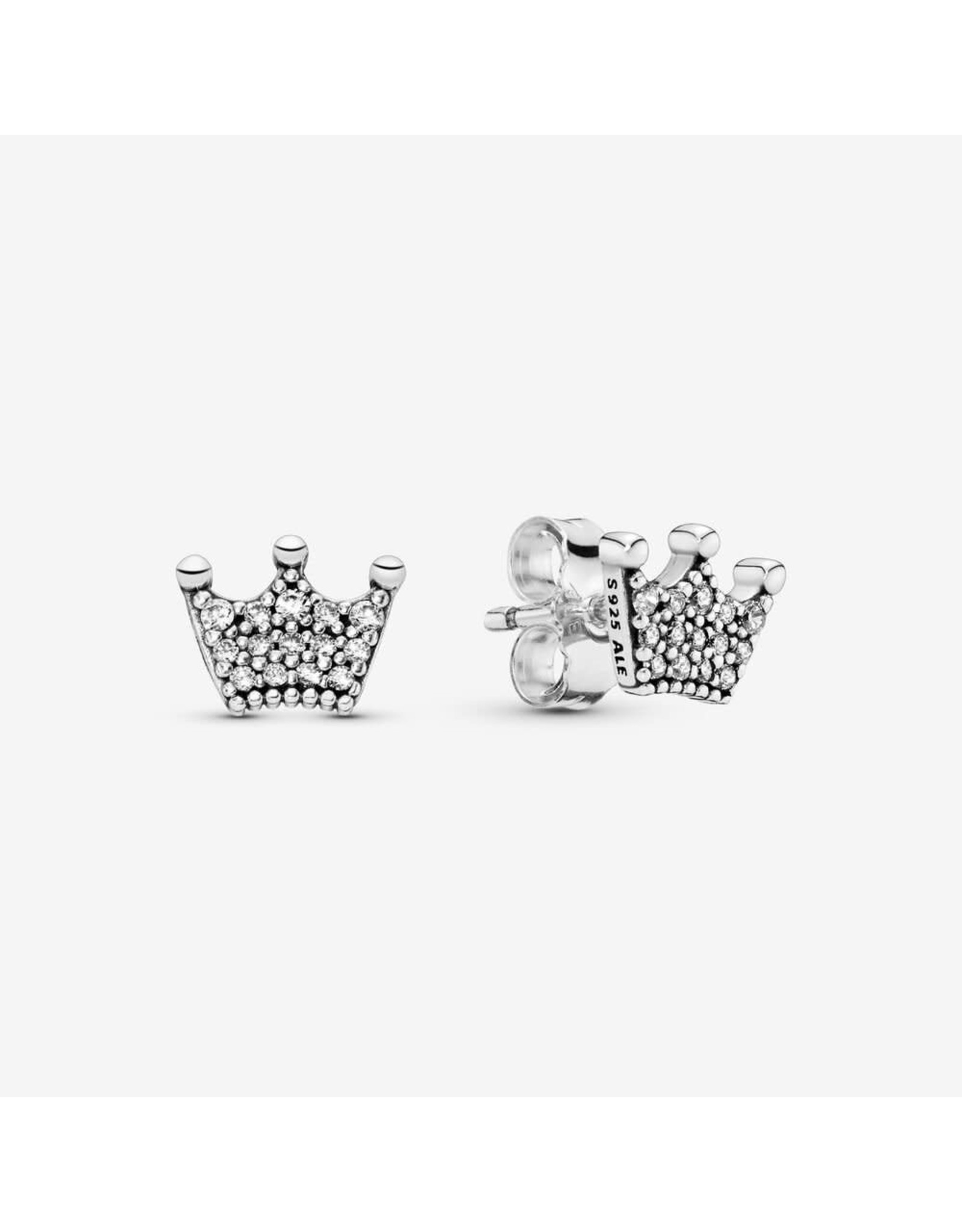 Pandora Pandora Crown Stud Earrings In Sterling Silver With 28 Bead-Set Clear CZ