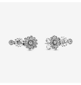 Pandora Pandora Earrings, 298876C01, Daisy Sterling Silver Stud Earrings With Clear CZ