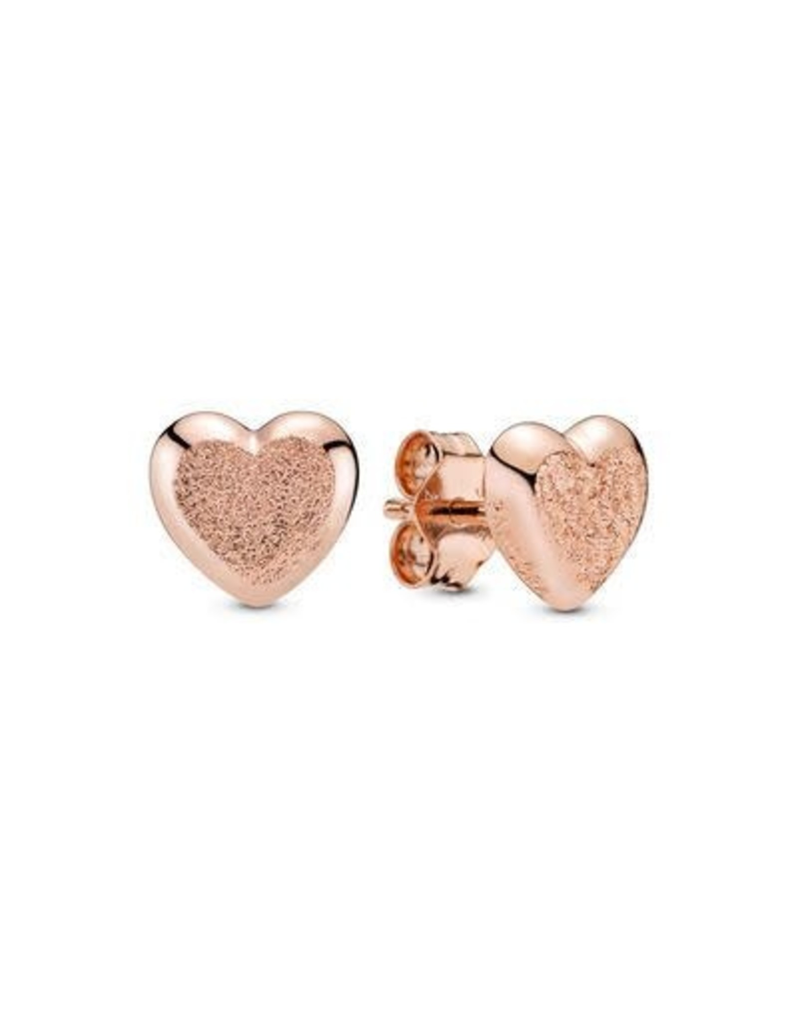 Pandora Pandora Heart Stud Earrings In Diamond-Pointed Rose Gold