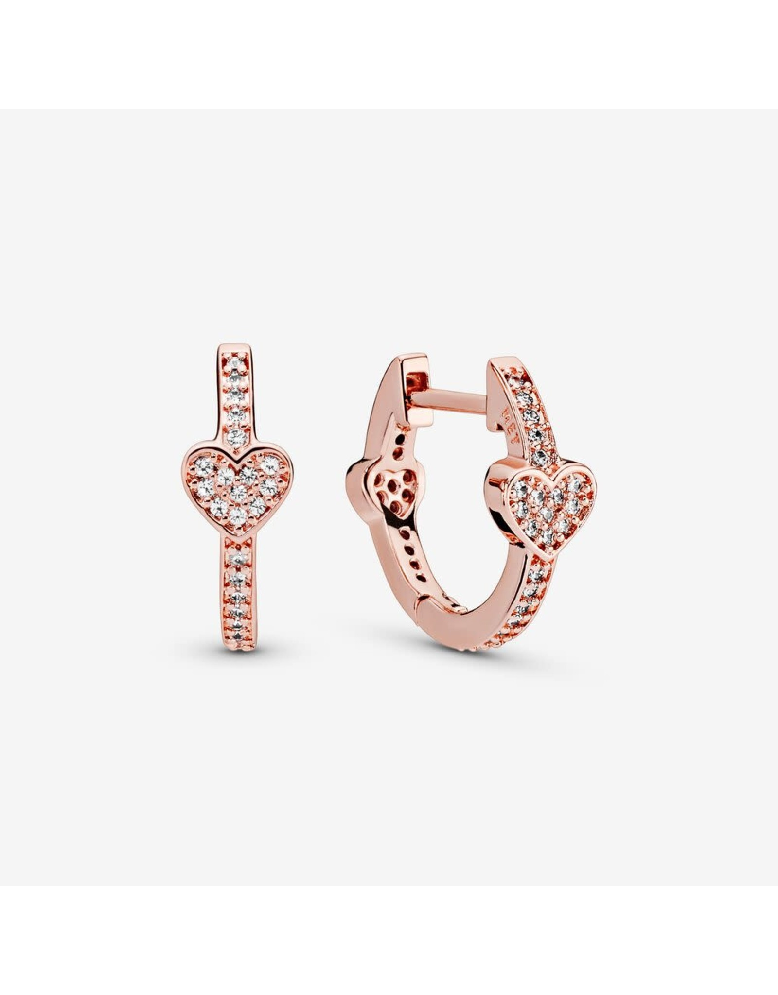Pandora Pandora Hearts Hoop Earrings In Rose Gold With 76 Micro Bead-Cet Clear CZ
