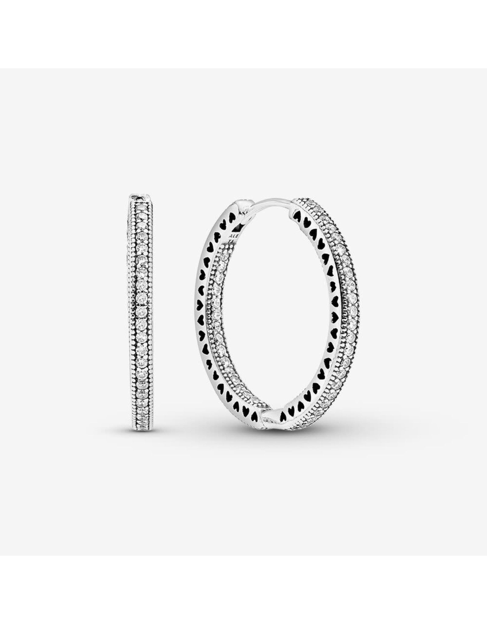Pandora Pandora Hoop Earrings(296319CZ) In Sterling Silver With Clear And Cut-Out Heart Details
