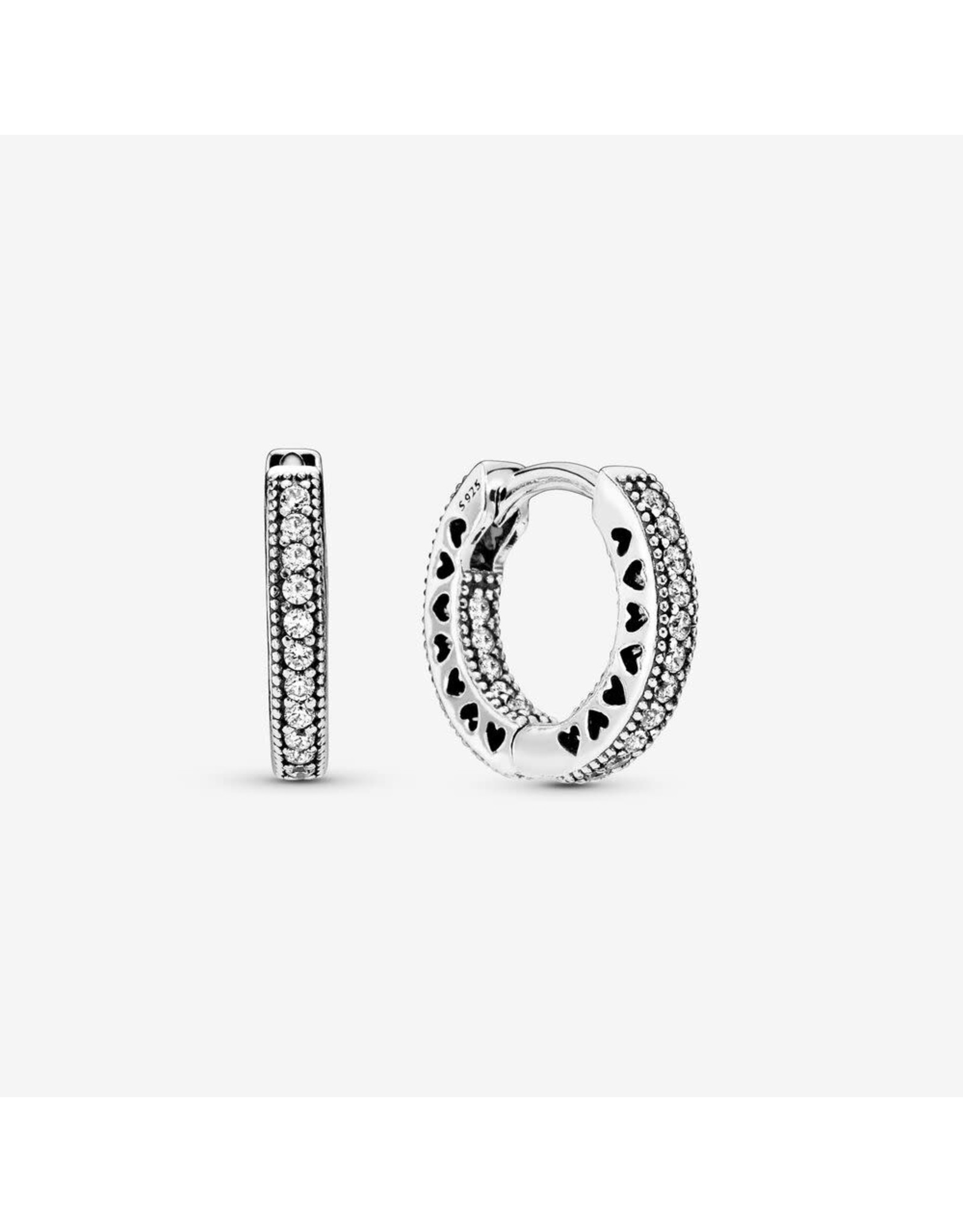 Pandora Pandora Hoop Earrings,296317CZ, In sterling Silver With Clear CZ And Cut-Out Heart Details
