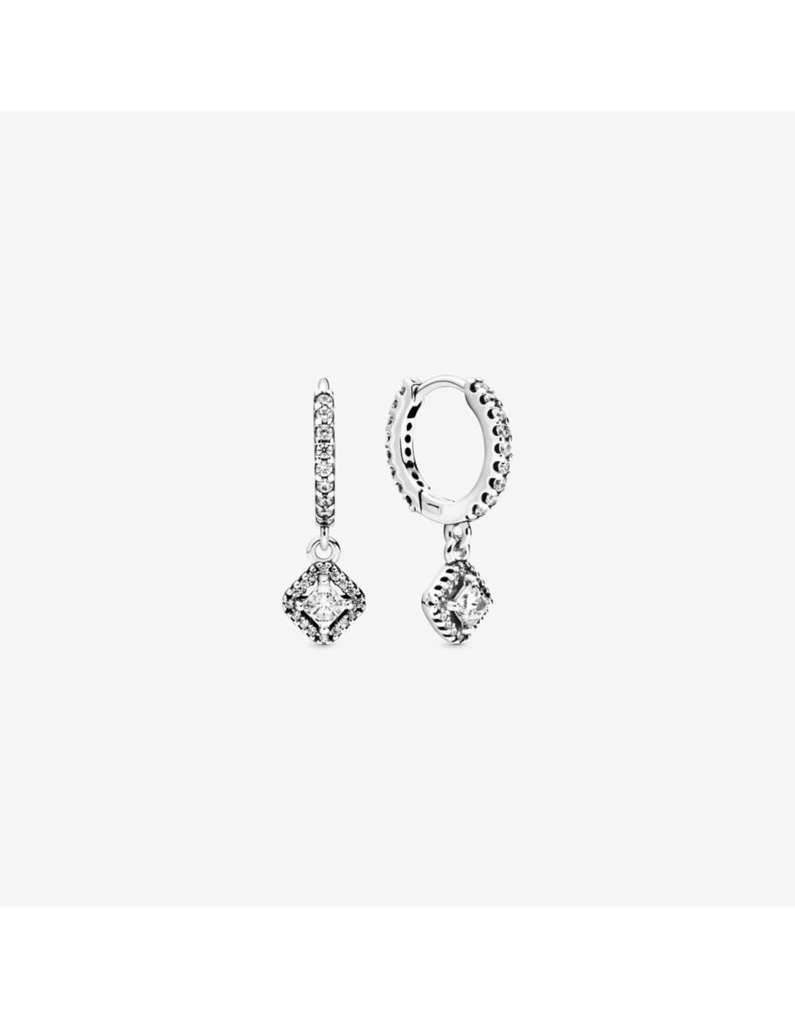 Pandora Pandora Earrings,298503C01,Sterling Silver Hoop Earrings With Clear CZ
