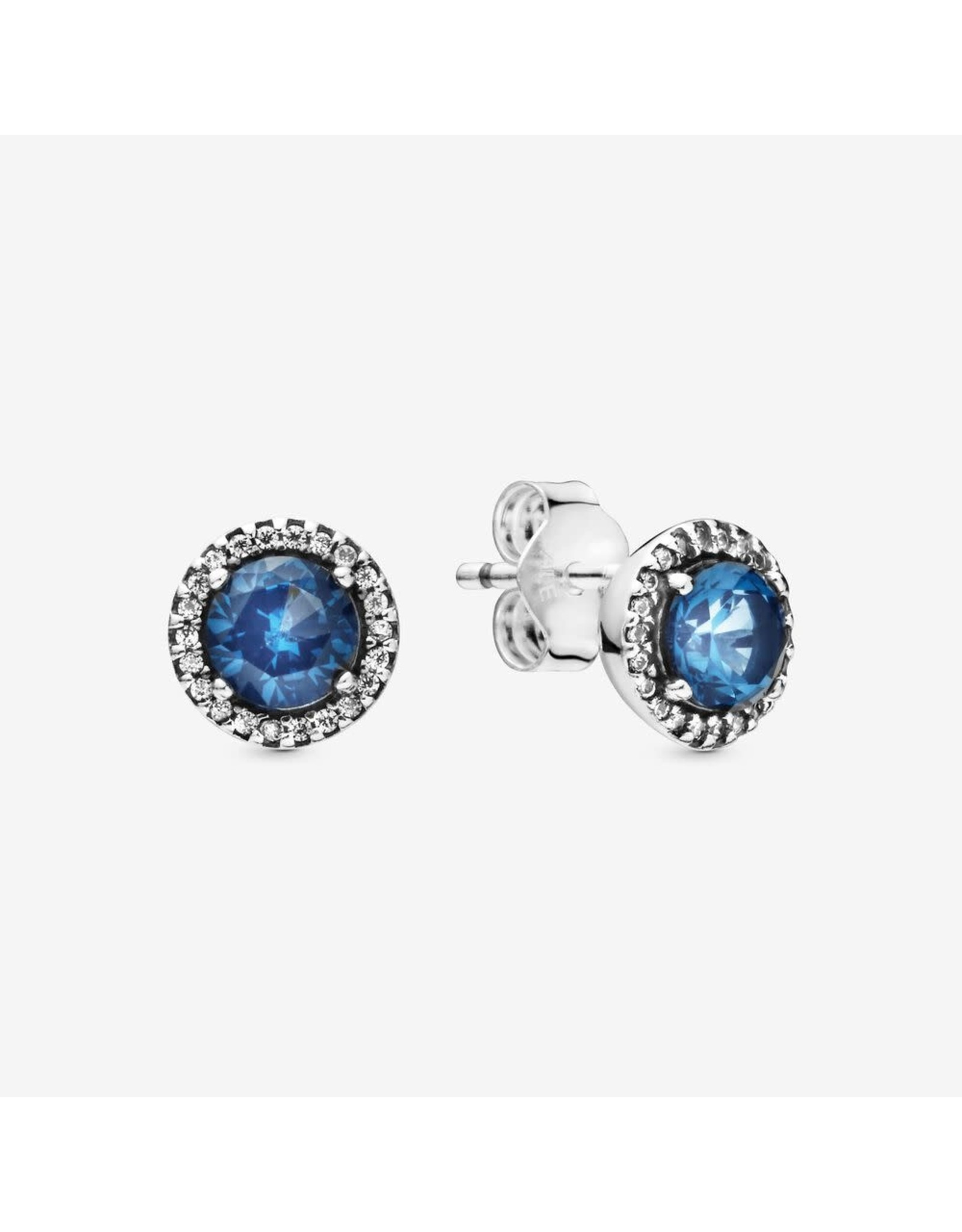 Pandora Pandora Sterling Silver Stud Earrings With Moonlight Blue Crystal And Clear CZ